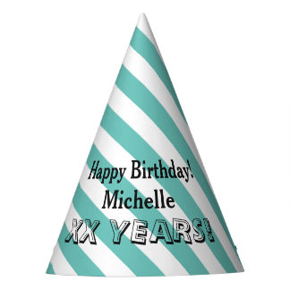 Personalized name striped Birthday party hats