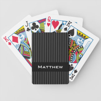 Personalized name stylish gray black stripes bicycle playing cards