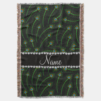Personalized name swirly black peacock feathers throw blanket