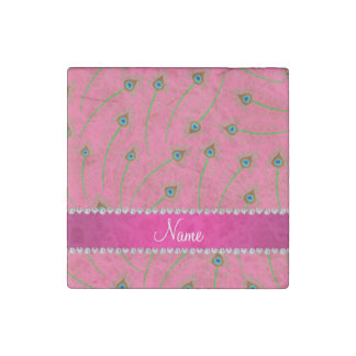 Personalized name swirly pink peacock feathers stone magnet