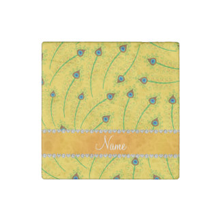 Personalized name swirly yellow peacock feathers stone magnet