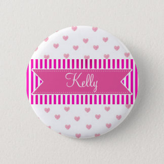 Personalized Name Tag Button, Pink Hearts 2 Inch Round Button