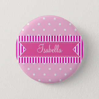 Personalized Name Tag Button, Pink Polka Dots 2 Inch Round Button