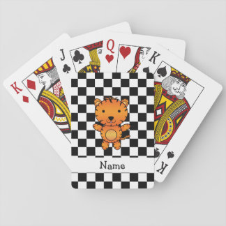 Personalized name tiger black and white checkers playing cards