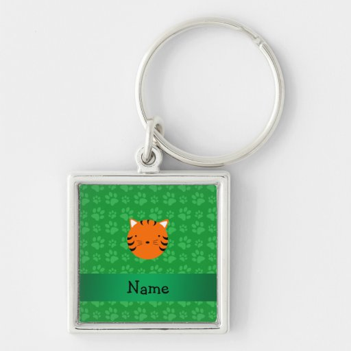 Personalized name tiger face green paw pattern key chain