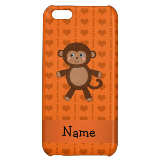 Personalized name toy monkey orange hearts cover for iPhone 5C