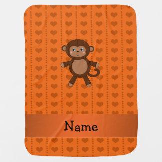 Personalized name toy monkey orange hearts baby blanket