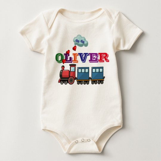 Personalized Name Train Baby Bodysuit