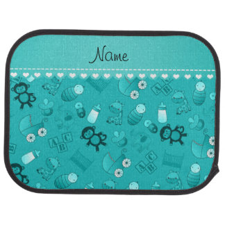 Personalized name turquoise baby animals car carpet