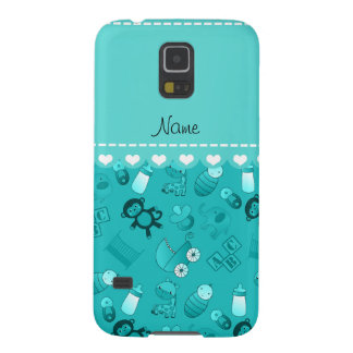 Personalized name turquoise baby animals galaxy s5 covers