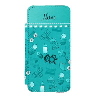 Personalized name turquoise baby animals incipio watson™ iPhone 5 wallet case