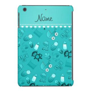Personalized name turquoise baby animals iPad mini cases