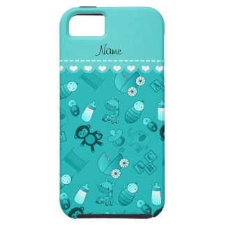 Personalized name turquoise baby animals iPhone 5 covers