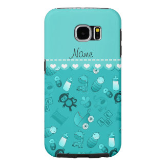 Personalized name turquoise baby animals samsung galaxy s6 cases