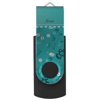 Personalized name turquoise baby animals swivel USB 2.0 flash drive