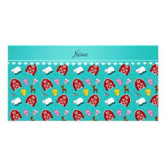 Personalized name turquoise barn animals photo card