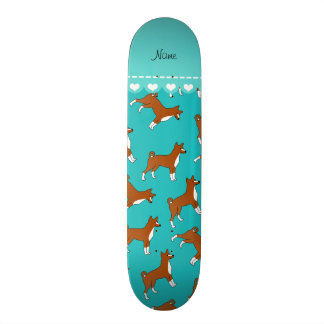 Personalized name turquoise basenji dogs skate board