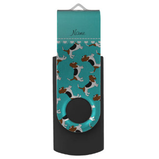 Personalized name turquoise basset hound dogs USB flash drive