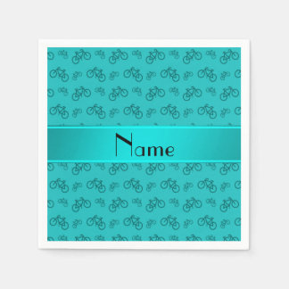 Personalized name turquoise bicycles disposable napkin