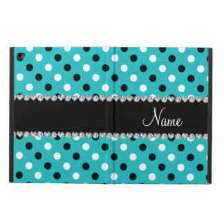 Personalized name turquoise black white polka dots