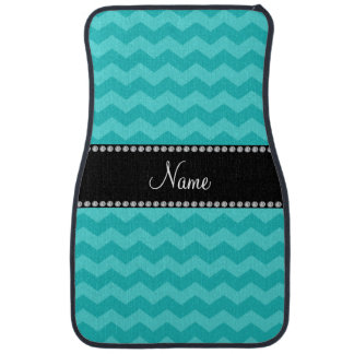Personalized name turquoise chevrons car mat