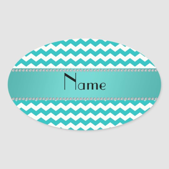 Personalized name turquoise chevrons oval sticker