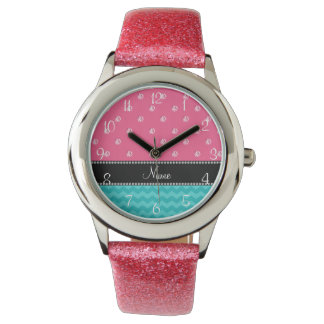 Personalized name turquoise chevrons pink diamonds watch
