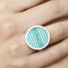 Personalized name turquoise chevrons ring