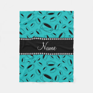 Personalized name turquoise coffee cup fleece blanket
