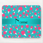 Personalized name turquoise cotton candy mouse pad