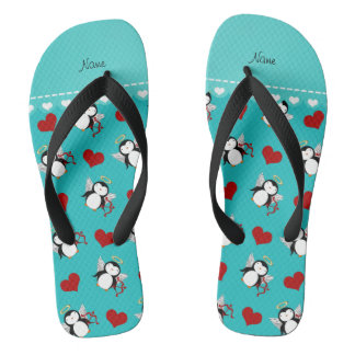 Personalized name turquoise cupid penguins hearts flip flops