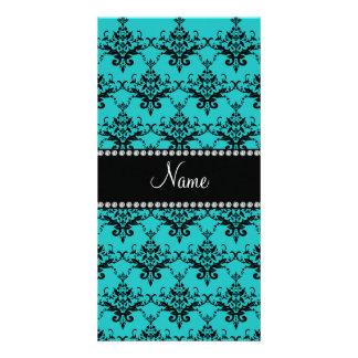 Personalized name turquoise damask personalized photo card