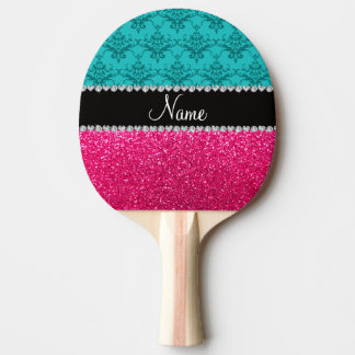 Personalized name turquoise damask pink glitter ping pong paddle