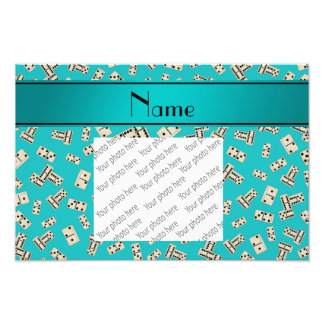 Personalized name turquoise dominos photo print