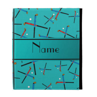 Personalized name turquoise field hockey iPad folio covers