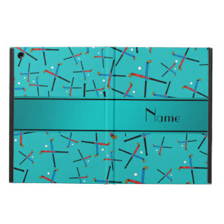 Personalized name turquoise field hockey iPad air case