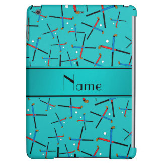 Personalized name turquoise field hockey iPad air cases