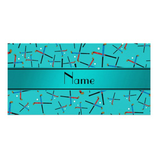 Personalized name turquoise field hockey photo greeting card