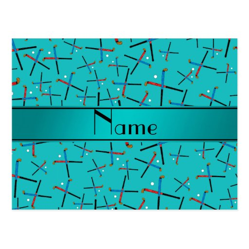 Personalized name turquoise field hockey post card