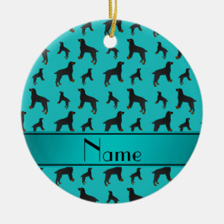 Personalized name turquoise field spaniel dogs ceramic ornament