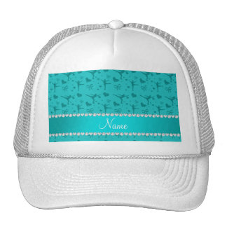 Personalized name turquoise figure skating hat