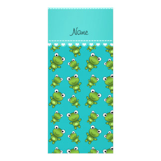 Personalized name turquoise frogs customized rack card