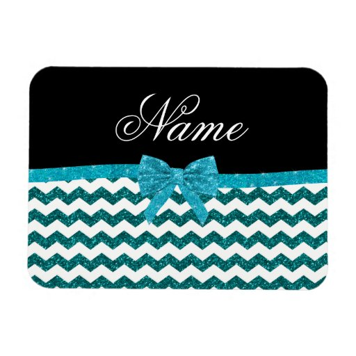 Personalized name turquoise glitter chevrons bow flexible magnet