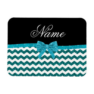 Personalized name turquoise glitter chevrons bow rectangular photo magnet