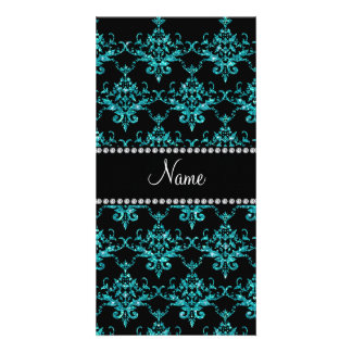 Personalized name turquoise glitter damask picture card