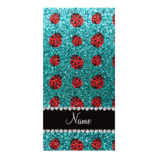 Personalized name turquoise glitter ladybug photo greeting card