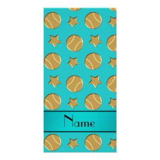 Personalized name turquoise gold baseballs stars photo card