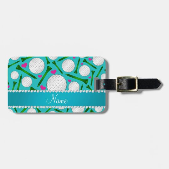 Personalized name turquoise golf balls tees hearts bag tag