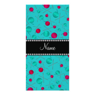 Personalized name turquoise knitting pattern picture card