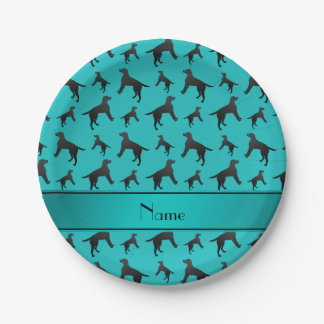 Personalized name turquoise Labrador Retriever dog Paper Plate